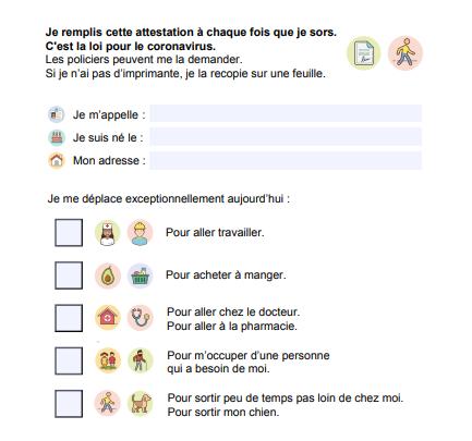 [Coronavirus] Attestation dérogatoire pour personnes handicapées (FALC)